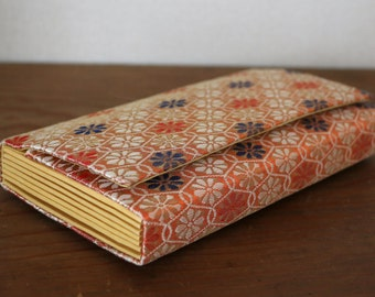 Nishijin ori Vintage Japanese Kimono Clutch /// Orange Kimono Bag, Brocade bag, Vintage Clutch bag, Vintage handwoven Obi clutch,