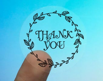 "Transparent or Silver Foil ""Thank You"" Ornate Labels Stickers Seals #R4068"