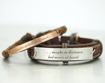 Long Distance Relationship Bracelets, Maybe in Distance, Together Forever, Best Friend, Matching Couple, Engraved Bracelet, His and Her, BFF