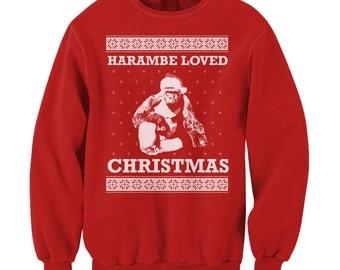 Harambe Loved Christmas Sweater RIP Harambe Sweatshirt