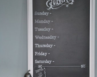 Chalkboard Menu Sign with days of the week and shopping list - great gift for Mother's Day - home decor for the kitchen -