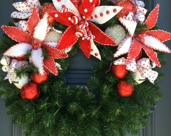 Christmas Wreath with Candy Cane Poinsettia