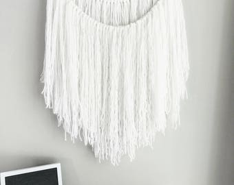 Yarn wall hanging | bohemian decor | white wall hanging | wall hanging with branch