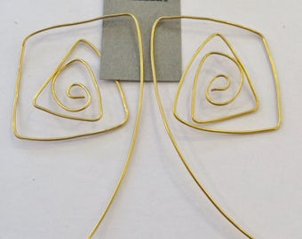 Gold plated wire spiral handmade earring hangers