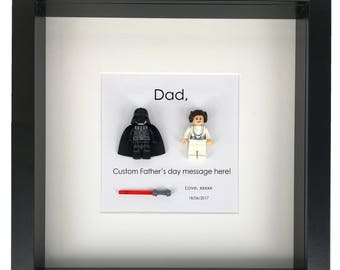 Father's day Frame custom fathers day gift Darth Vader + Leia Star Wars gift from son Gift Custom father's day message gifts