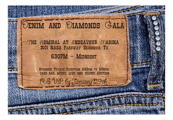 Denim Wedding Invitations: Denim And Diamonds Invitation