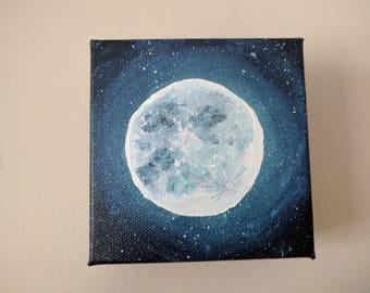 Moon Glow, Hand painted mini painting, Night sky, stars, small gift