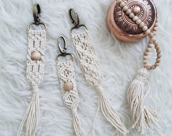 Hand-made macrame Keychain withTassle ,Macrame accessories, purse decoration, bag accessories.