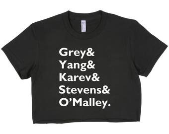 Grey's anatomy Squad Grey yang karev stevens o'malley Crop Top Cropped T-shirt tee