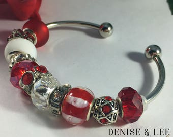 Red & White European Beaded Bracelet