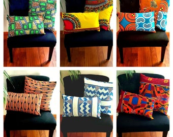 40 x 40 cm and 50x30cm wax fabric pillows