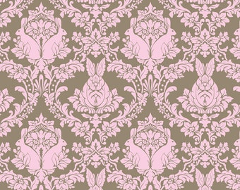 Tula Pink Hushabye Bunny Damask Fat Quarter in Brown & Pink