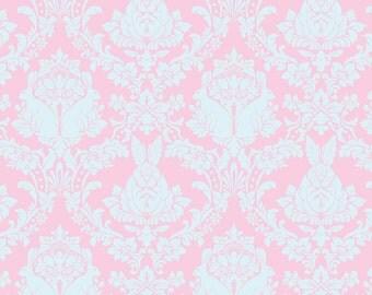 Tula Pink Hushabye Bunny Damask Fat Quarter in Pink & Blue