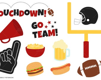 Football Party, Touchdown, Football Helmet - Cute Clipart, Clip Art - Commercial Use, Instant Download | V7