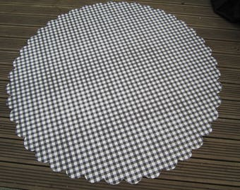 New Gingham Table Cloth Black White Check Pvc Wipeable Scalloped Edge Round  Rectangular, Kitchen Table