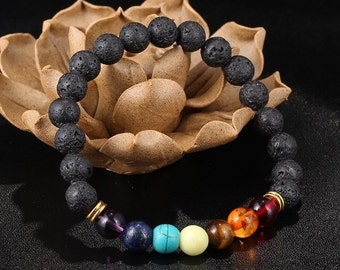 7 Chakra Bracelet, Lava Bracelet, Meditation Bracelet, Chakra Bracelet, Yoga Bracelet, Wrist Mala, Buddhist Bracelet, Diffuser Bracelet