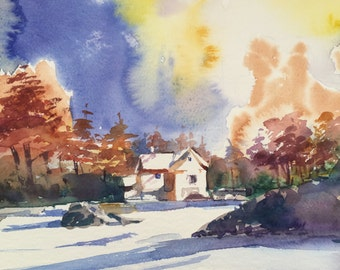 A Sunny Day at Winter (handmade watercolor, unique item)