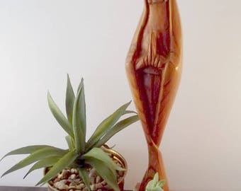 Vintage Carved Wood Sculpture of Virgin Mary/ Rustic/Madonna Praying/Religious