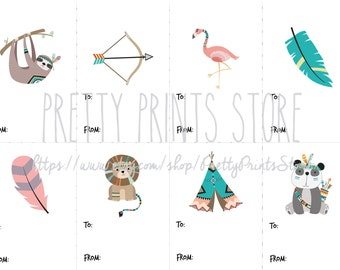 Tribal Woodland and Zoo Animals Tags Printable | Flamingo, Teepee, Sloth, Lion, Panda | Instant Download