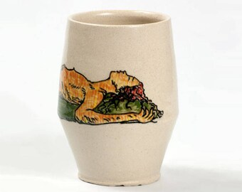 Ceramic cup, Modern cup, Painted cup, Orange ceramic tumbler, Painted tumbler, Ceramic cup with woman, Pottery cup, Unique pottery cup