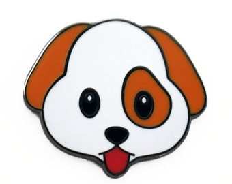 Cute Puppy Emoji – Enamel Pin for your Life