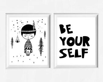 Be your self, baby boy nursery print, nursery art, little Indian boy, printable nursery decor, typography, black print, boys room