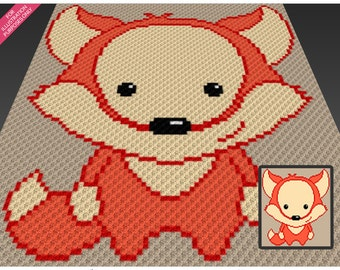 Cute Fox crochet blanket pattern; c2c, cross stitch; knitting; graph; pdf download; no written counts or row-by-row instructions