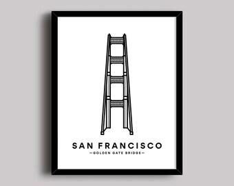 Golden Gate Bridge, San Francisco Print, San Francisco Art, Bridge Print, City Poster, Famous Icon, Bridges and Architecture