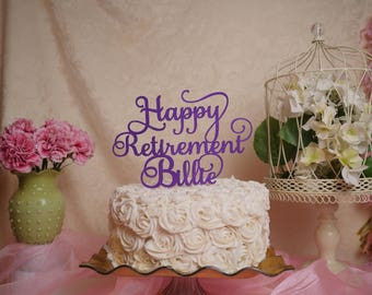 Retirement Glitter Cake Topper, Happy Retirement, Glitter Cake Topper, Retirement Party Decoration
