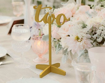 Table Numbers - Freestanding– Table Numbers for Wedding - Gold Table Numbers - Freestanding with base - Wedding Table Number