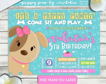 PRINTABLE or PRINTED || Puppy Paw-ty Birthday Invitation|| FREE Thank you cards|| Any occasion, any wording!!