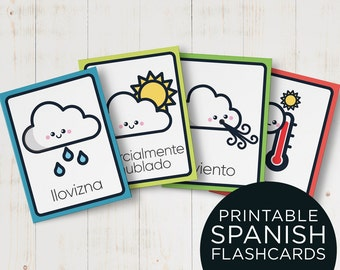 Weather Spanish Flashcards for Kids - Print, Cut and Learn Spanish Flash Cards for preschool -  Instant download Spanish Educational Cards