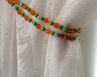 Curtain Tie back, Beaded, Curtain,Beaded Tiebacks, Interior Decor, Drapery , Hold backs, Curtain Necklace,Green,Crystal,Teardrop,Glass,Pearl