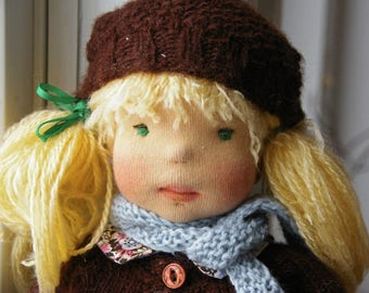 """Unique 15"""" Felted Fabric Waldorf inspired Doll: Adèle"""