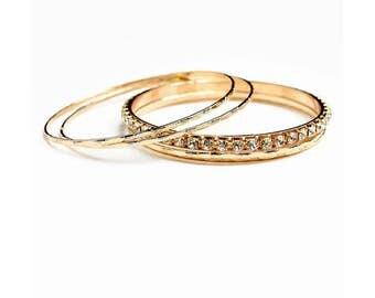 Women's Bangles Rhine Stone Bracelet Set