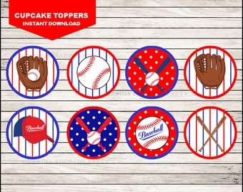 Baseball cupcakes toppers instant download, Baseball Toppers , Baseball Party Toppers
