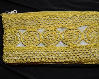 Gold thread handmade purse, knitted clutch, stylish purse, evening bag