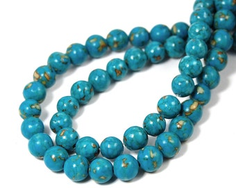 """Two 15.5"""" strands Mosaic Turquoise Beads 6mm"""