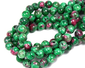 """Two 15.5"""" strands Ruby in Zoisite Beads 8mm"""