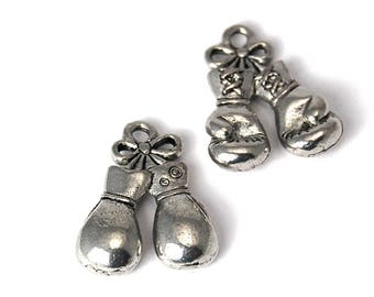 2pc, Boxing Glove Charm, Pewter