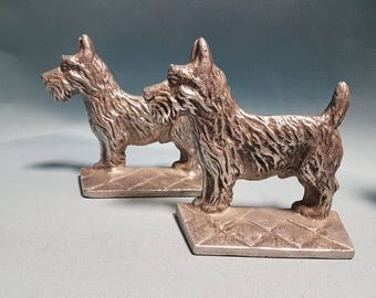 Vintage Silver Metal Scottie Dogs Bookends