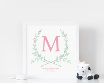 Girl's Room Decor - Personalised Wreath - Personalised Baby Print - Monogram Wreath - Floral Letter - Pink Nursery Print - Gift Baby Girl