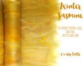 Spinning batts - 100g - 3.5oz - 21 micron Merino - Tussah silk - Silk noil - WINTER JASMINE