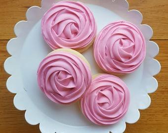 Rose Cookies - Wedding Cookies - Flower Cookies - Decorated Cookie - Cookie wedding favors -  Sugar Cookies - Decorated Sugar Cookies
