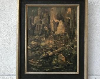 Mid Century Urban Landscape Brutalist Print
