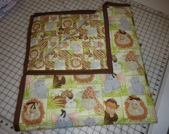 Quilt. Baby Quilt. Boy. Hand Tied. Baby And Toddler Quilt. Jungle Theme.