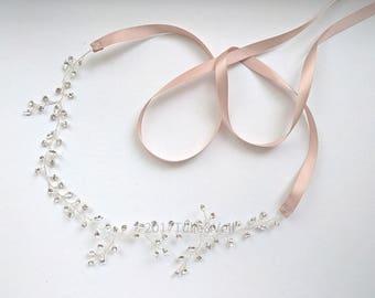 Bridal silver hair band - Hina
