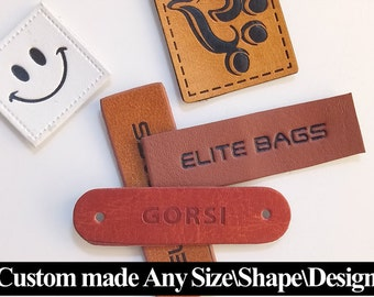 50 Leather tags, Custom leather tags, Leather tags for clothing, Leather labels, Personalized leather tags, Leather label tag, leather tags