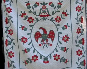 Antique Quilt Queen Size 'Eagle Applique'/Handmade, Hand quilted Vintage Americana/Red,Green & Yellow Queen Blanket/Patriotic Quilt #17910