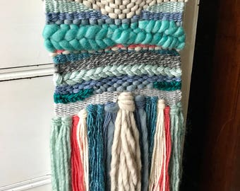 Small Blue and Coral Wall Hanging